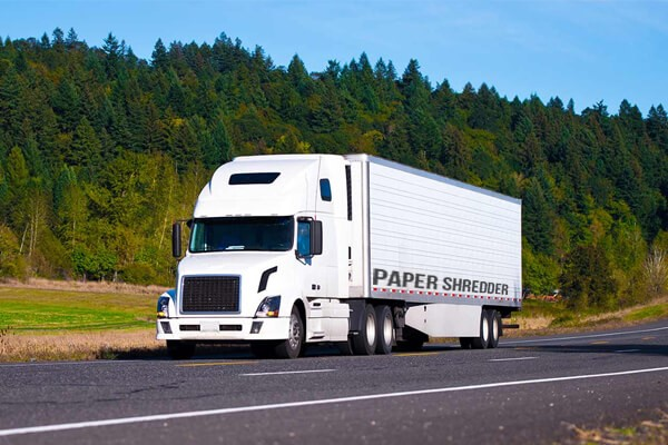 paper shredding truck